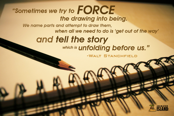 Quote on Drawing by Disney artist Walt Stanchfield